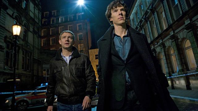 Martin Freeman and Benedict Cumberbatch in Sherlock TV Series