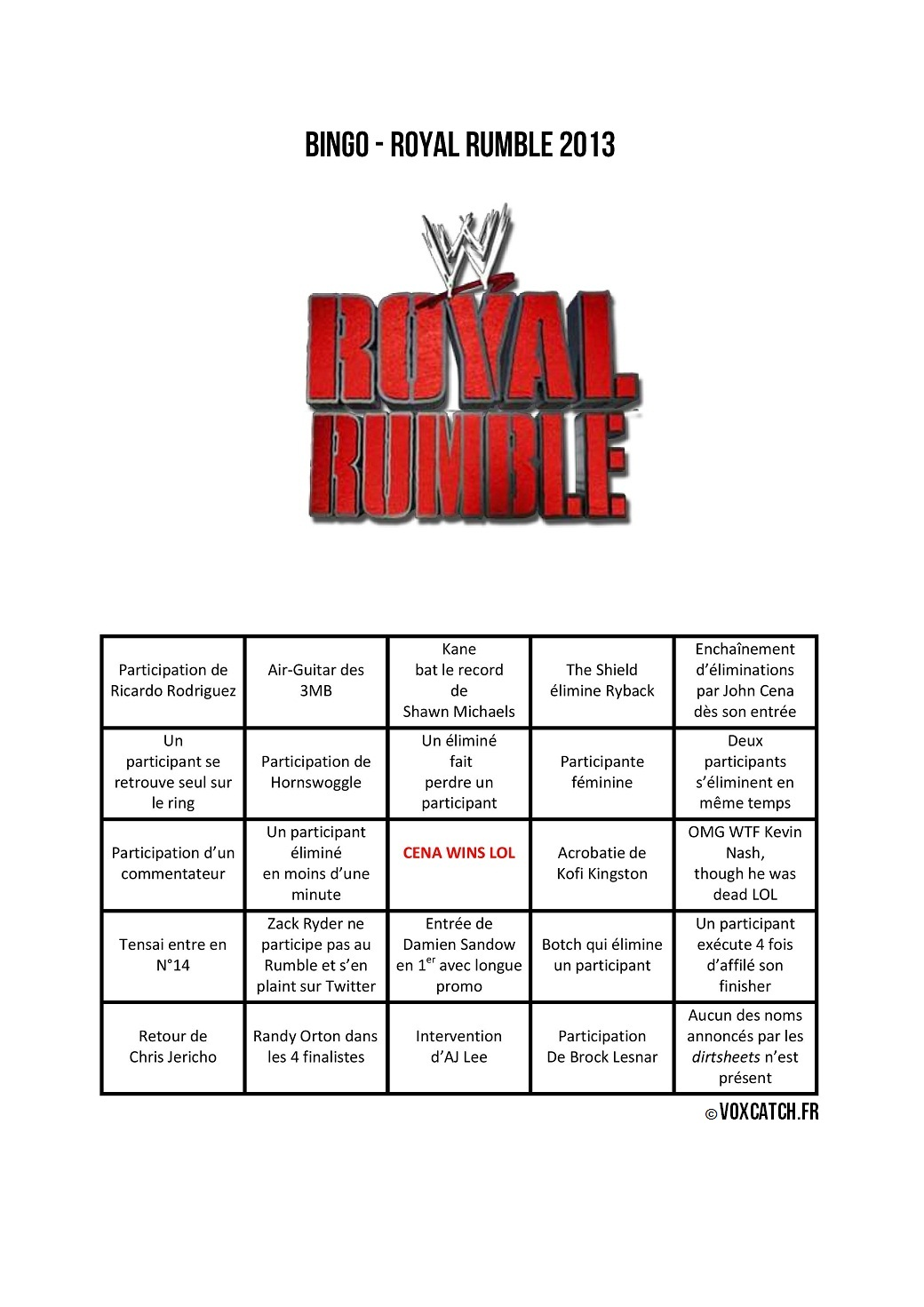 Royal Rumble Bingo VoxCatch