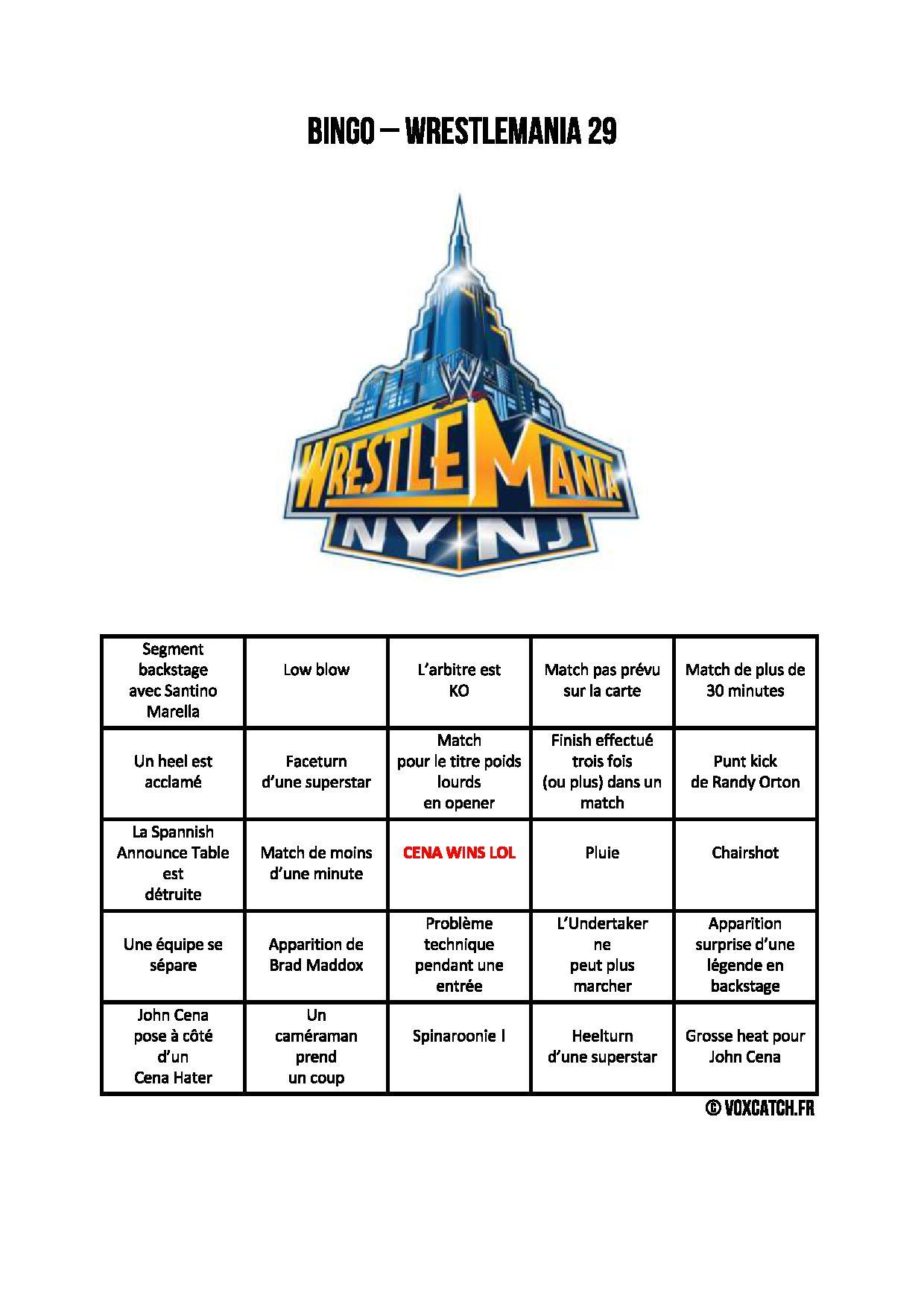 WrestleMania 29 Bingo