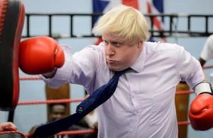 Mayor of London Boris Johnson boxes with