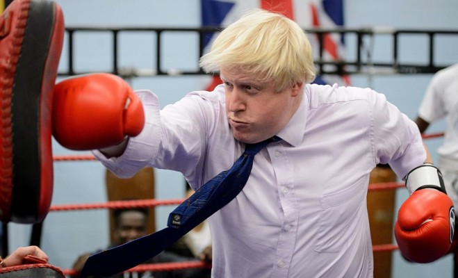 Mayor of London Boris Johnson boxes with