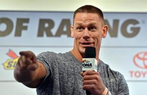 Feb 21, 2016; Daytona Beach, FL, USA; Professional wrestler John Cena speaks during a press conference before the Daytona 500 at Daytona International Speedway. Mandatory Credit: Jasen Vinlove-USA TODAY Sports
