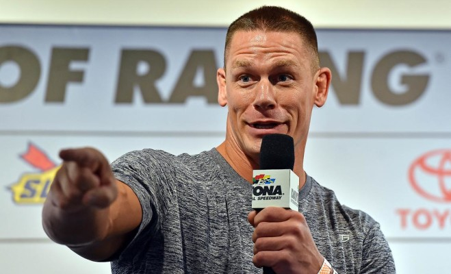 Feb 21, 2016; Daytona Beach, FL, USA; Professional wrestler John Cena speaks during a press conference before the Daytona 500 at Daytona International Speedway. Mandatory Credit: Jasen Vinlove-USA TODAY Sports